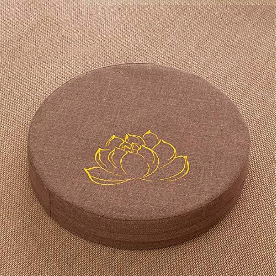 帰るマリン狂ったリネン 畳 シート クッション パッド, 日本語 ラウンド 通気性 布団 座布団 クッション 洗える 床 食品 の 禅 ヨガの練習 瞑想 着脱式 洗える-ブラウン 50x8cm
