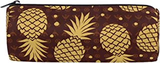 ALAZA Pineapple Cylinder Pencil Case Holder Zipper Large Capacity Pen Bag Pouch Students Stationery Cosmetic Makeup Bag