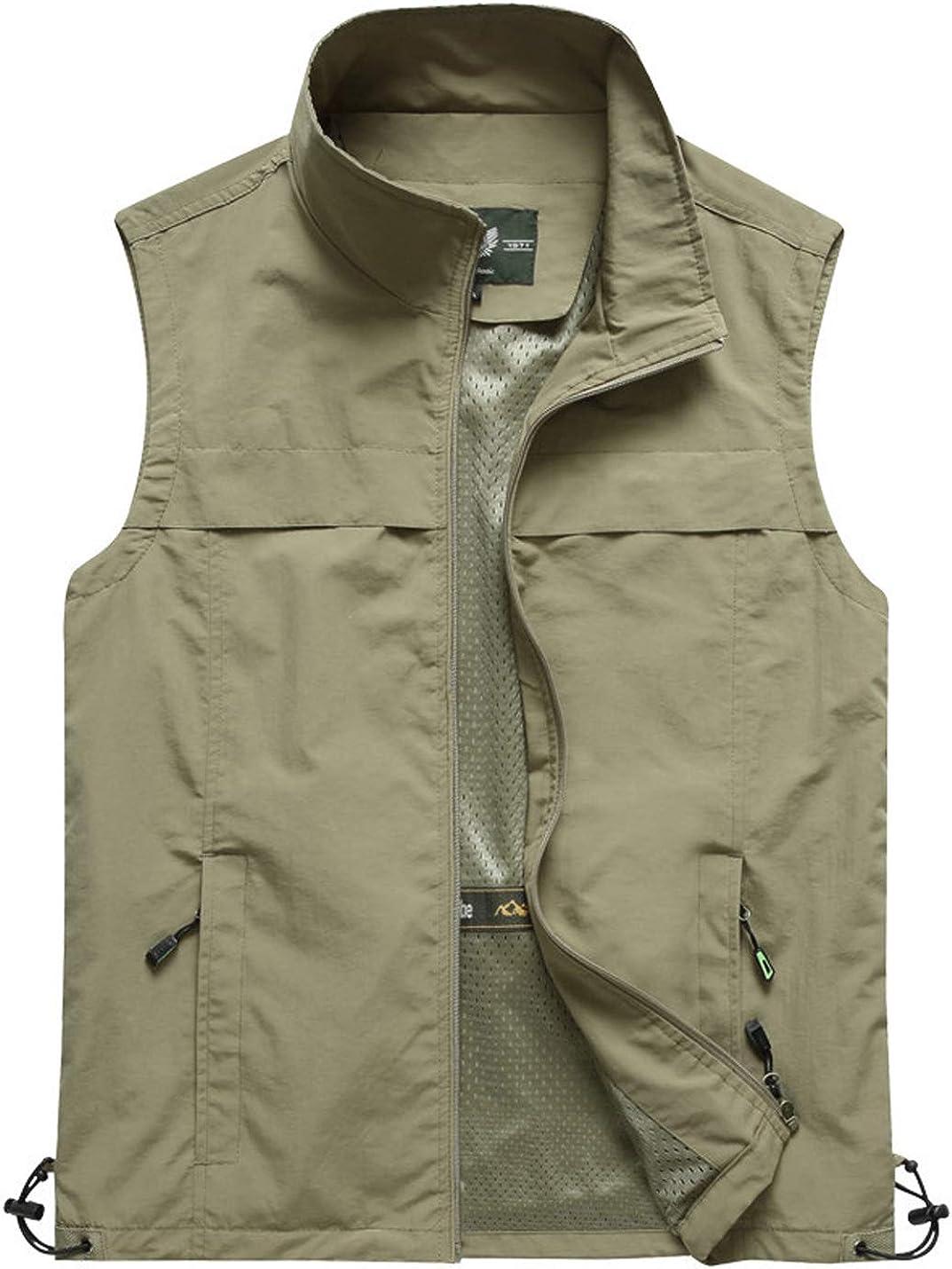 Gihuo Men's Casual Work Zip Vest Quick Dry Fishing Safari Travel Vest