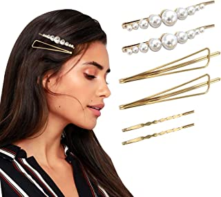 Hawwwy Triangle Minimalist Pearl and Gold Hair Clips for Women Girls, Hair Clip, Pearl Hairpin, Hairclip, Hair Accessories...