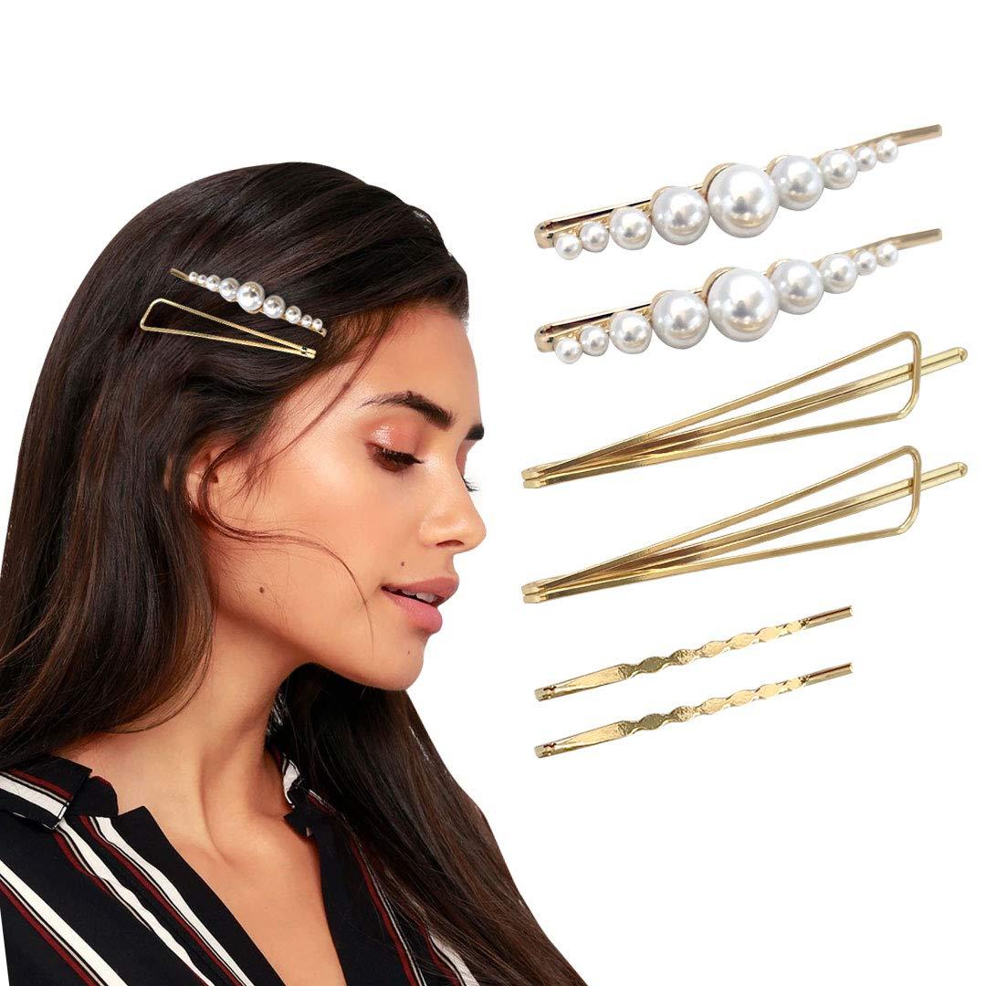 1×Women Pearl Geometric Hair Clips Snap Barrette Slide Grips Hair Clip Hairpins