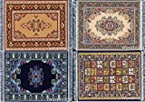 Set of 4 Dolls House Rugs for Dollhouse Furniture - Miniature Woven Dollhouse Carpet - 6' X 4'
