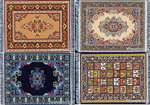 Miniature Woven Dollhouse Carpet - Set of 4 - Dolls House Rugs