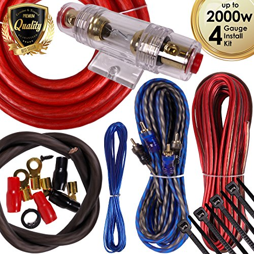 Complete 2000W Gravity 4 Gauge Amplifier Installation Wiring Kit Amp PK1 4 Ga Red - For Installer and DIY Hobbyist - Perfect for Car / Truck / Motorcycle / RV / ATV