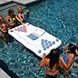 Cama Inflable Beer Pong Juego de Mesa de Billar Partido colchón de Aire Agua de la Piscina Flotante Beber Lilo Juegos Salón Balsa Estera con 20 Copas y 2 Pong Bolas