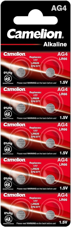 Pilas alcalinas de botón (12001004) de Camelion, AG4, LR66, LR626, 377, Pack de 10 sin Mercurio 10 Unidades