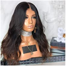 Synthetic Wig,Dark Rooted Brown Ombre Middle Part Curly Wave Natural Looking Long Synthetic Hair, Blonde Full Heat Resistant Wig for Women,25in