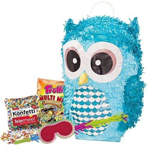 Eule Pinata XXL Set Pinata Eule & Schläger & Maske & Trolli Multimix 500g.Süßigkeiten-Füllung & Konfetti 50g.Feiermeier - perfekt für Kindergeburstag, Eulen-Fans, KindergeburtstagPartymarty