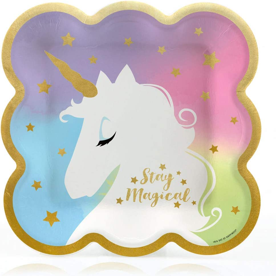 Big Dot of Happiness Unicorn with Gold Foil - Magical Rainbow Un