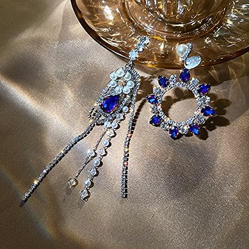 Landia Pendientes asimétricos con borlas de Perlas de Plata 925 para Mujer, joyería de Lujo, circonita cúbica AAA Brillante S925, Aguja de Plata para Fiesta de Boda
