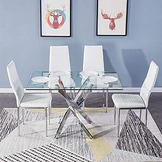 GOLDFAN Table de Salle à Manger et 4 Chaises Rectangulaire Table Cuisine en Verre et Chaises Moderne