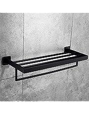 壁掛けタオル掛けステンレススチールダブルタオルバーミラークロームポリッシュブラックタオルホルダー2つの選択肢バスルームアクセサリー60cmシルバー、ブラック