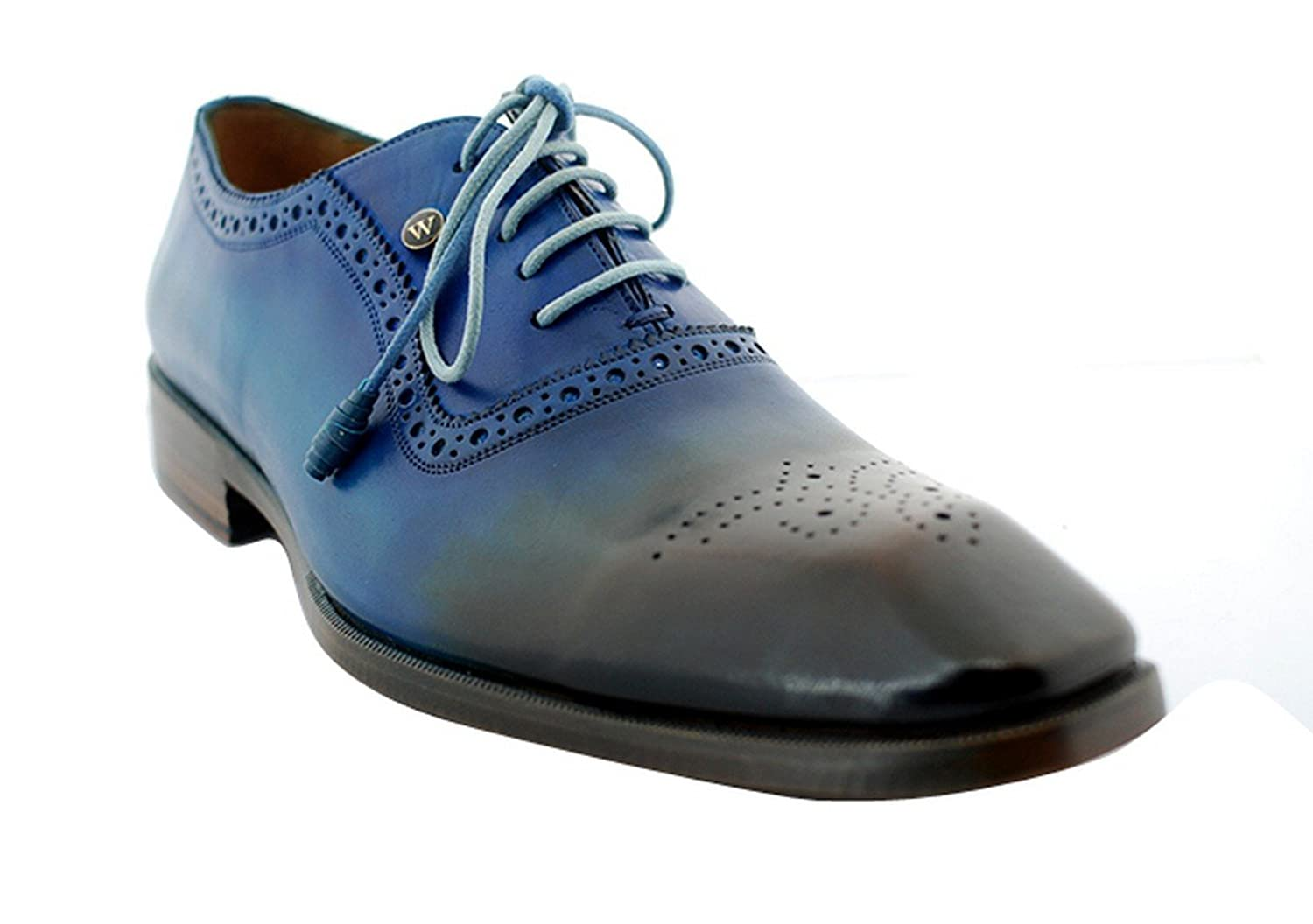 [Oscar William] Blue/Brown New York I Men's Luxury Classic Leather Shoes
