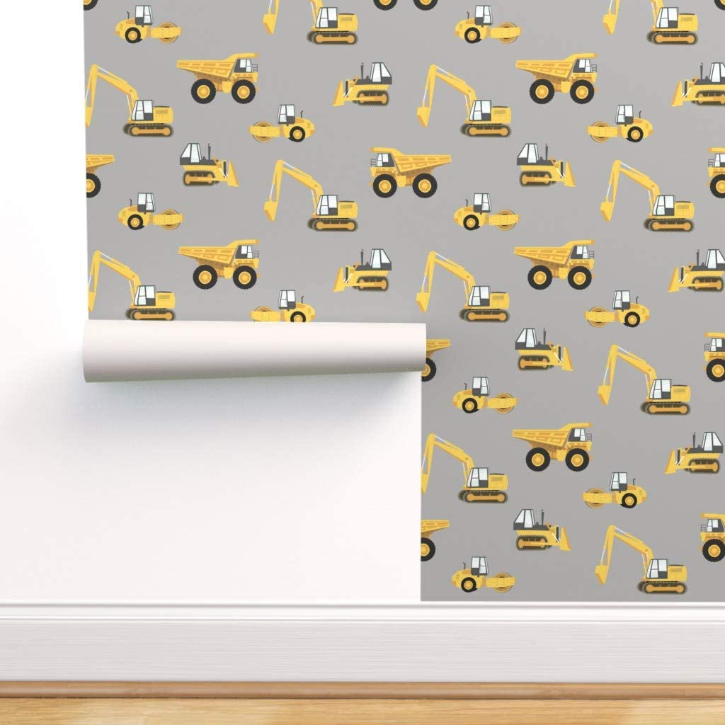 Spoonflower Pre-Pasted Removable 高品質 Construction 専門店 Trucks Wallpaper