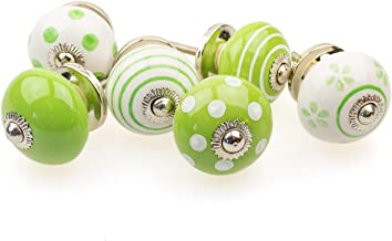 Gałka meblowa gałka meblowa zestaw 6 szt. 085GN punkty okręgi waciki biały zielony - Jay guzik ceramika porcelana ręcznie ...