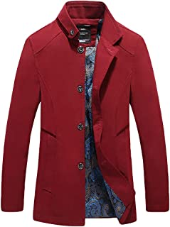 wuliLINL Men's British Classic Business Jacket Wool Style Stand Collar Retro Pea Coats