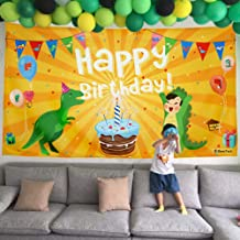Beestech Dinosaur Themed Birthday Party Supplies Supply Favors for Boys Girls Toddlers Baby, Dinosaur Birthday Party Banner Decoration Backdrop Background Tablecloths(Golden)