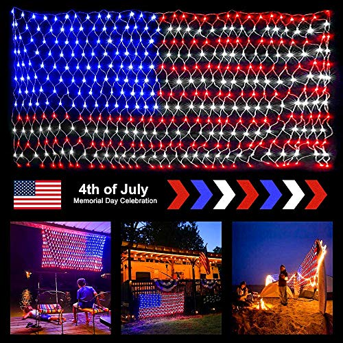 Ollny American Flag Net Lights 6.5FT x 3.3FT 390 LEDs String Mesh Lights Large USA Flag Outdoor Indoor Mesh Lights Waterproof for Independence Day Festival Decoration Party Christmas Decorations