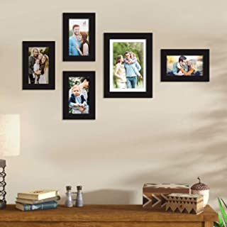 Art Street Set of 5 Black Wall Photo Frame, Picture Frame for Home Decor with Free Hanging Accessories (Size - 4x6, 6x8)