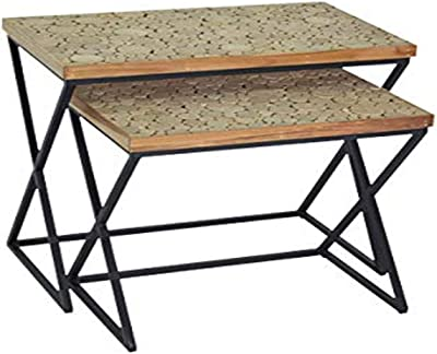East At Main Wilder Accent Nesting Table, Tan and Black