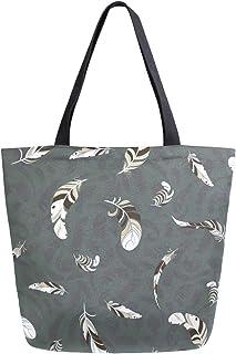 Mnsruu Mnsruu Einkaufstasche aus Segeltuch, wiederverwendbar, Schulter-/Handtasche, graue Federn, Reisetasche, für Damen und Mädchen