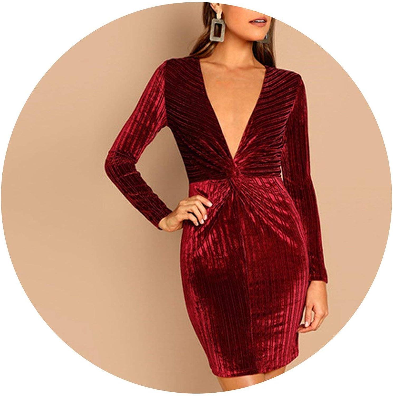 Zalin Burgundy Twist Front Deep VNeck Sheath Slim Dress Elegant Women Dresses