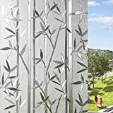 LEMON CLOUD 3D Film Esmerilado Ventana Adhesivo Estatico se Aferran Bambus Patron para Oficina Casa Decoracion y Proteccion de la Privacidad (90cmX200cm Recto Bambu)