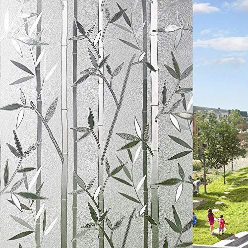 LEMON CLOUD Fensterfolie Selbsthaftend Blickdicht Bambus Sichtschutzfolie, Klebefolie Fenster 3D Dekofolie Statisch Anti-UV 44.5 x 200cm