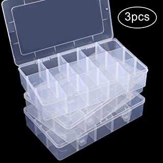 SGHUO 3 Pack 15 Compartments Plastic Organizer Box for Washi Tape, Clear Jewelry and Earring Storage Box with Adjustable Dividers