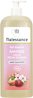 Natessance Organic Almond Shower Gel & Peach Fragrance (Sulphate-free Soap-free & Parabens-free), fruity, 1000 millilitre