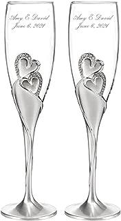 Personalized Wedding Toasting Flutes - Sparkling Love Design - Custom Engraved Champagne Flutes for Bride and Groom, Set of 2