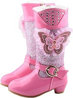 Fanessy Niñas Princesa Botas de Nieve Botas de Invierno con Lentejuelas para niños Botas de tacón Alto Botas de Agua con F...