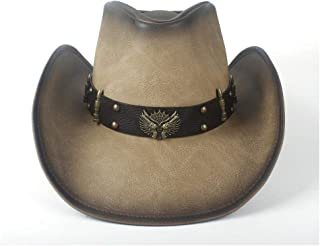Lei Zhang Retro Women's Men's Leather Cowboy Western Roll Up Cowgirl Fedora Hat With Leather Band
