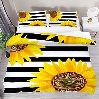 LUCASE LEMON ALEX 3 Pieces Yellow Sunflower Black White Stripe Duvet Cover Set (1 Duvet Cover + 2 Pillowcases) Queen Size Breathable Bedding Sets Room Decor for Kids Teens Girls Boys