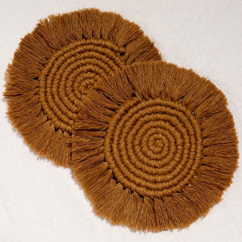 Macrame Coasters Woven Boho Handmade Absorbent Placemats, for Desk Table Kitchen Dining Room Drink Picnic Housewarming Home Decor Rattan Wicker Bamboo (Toffee (Set of 2))