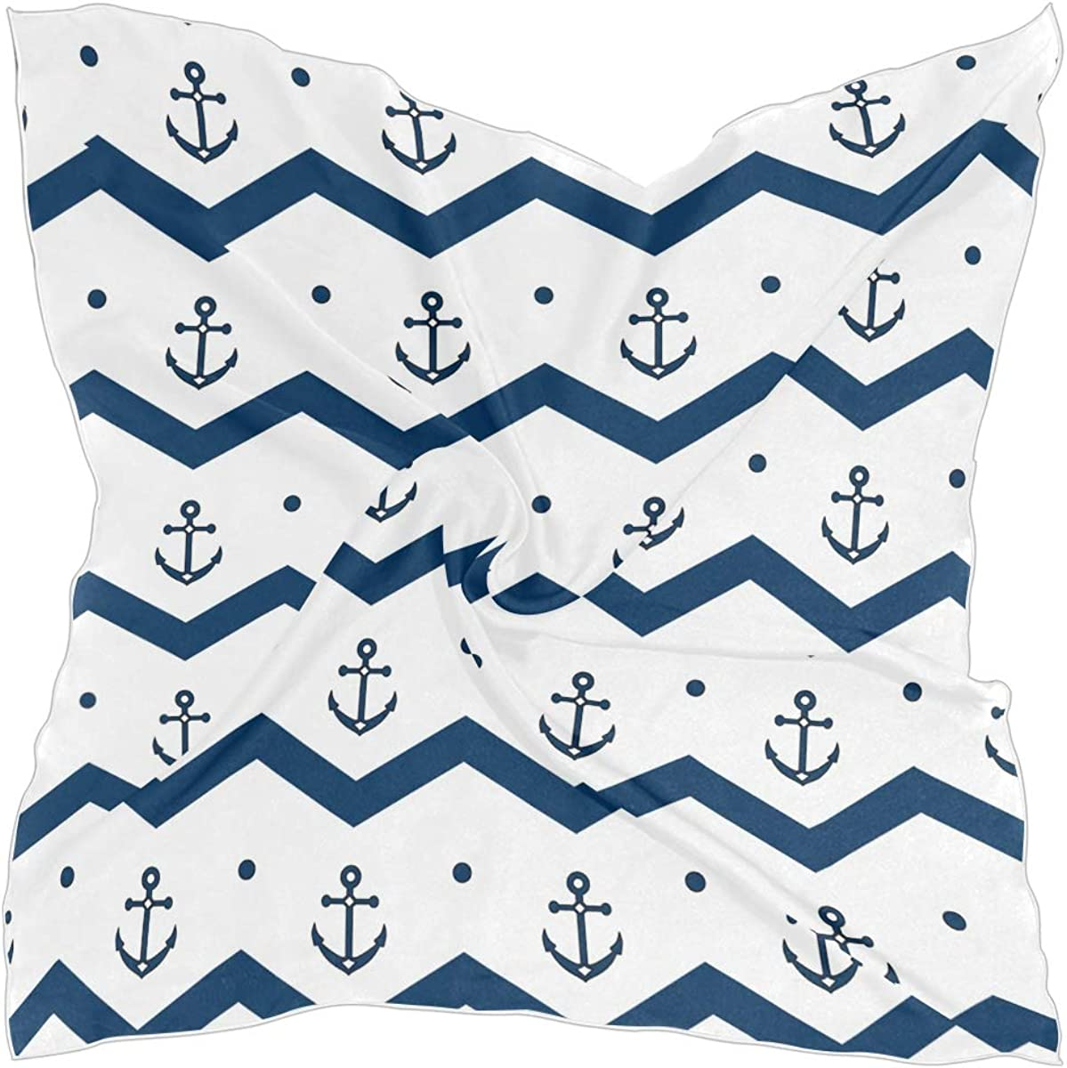 ALAZA Anchors in Blue and White Square Scarf Polyester Lightweight Fashion Elegant Head Neck Scarf Kerchief for Women Girls