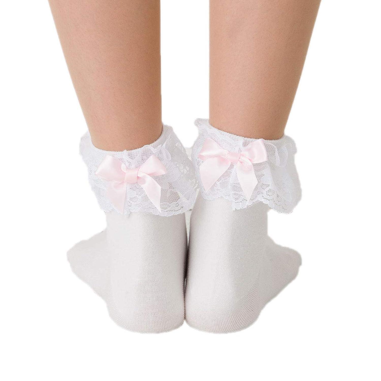 Doll Kiss 後ろリボンつき 履き口レース ロークルーソックス (23-25cm)(日本製) 靴下 レディース ドールキス