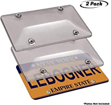 lebogner Car License Plates Shields 2 Pack Tinted Bubble Design Novelty Plate Covers to Fit Any Standard US Plates, Unbreakable Frame Covers to Protect Front, Back License Plates, Screws Included
