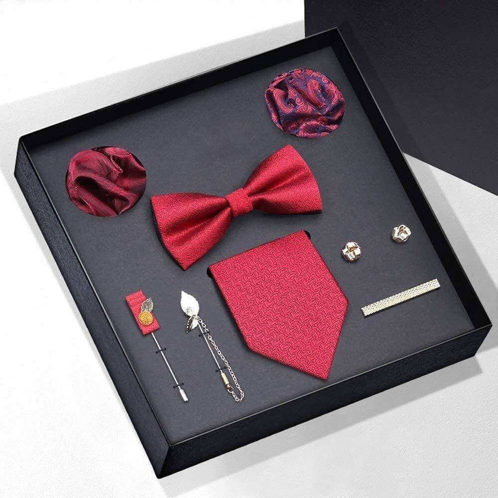 WYKDL Men's Gift Tie Set Silky Necktie Pocket Squares Tie Clips Cufflinks for Men Tie Set for Men Slim Necktie Bowties Pocket Square Cravat for Formal Wedding Business Party Set Gift Box Pack