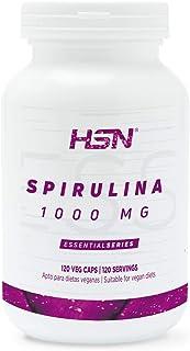 Espirulina 1000mg de HSN | A base de Algas, Reduce al Apetito, Aumenta tu Energía y Vitalidad, Antioxidante y Detoxificante | Vegano, Sin Gluten, Sin Lactosa, 120 Cápsulas Vegetales