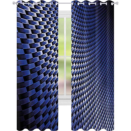 jinguizi Cortinas para dormitorio Azul Oscuro Industrial Moderno Grid W52 x L63 Cortinas opacas para dormitorio