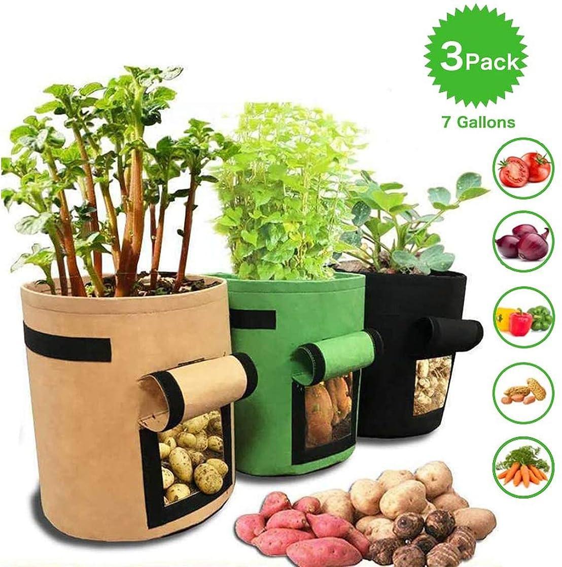 かすれた報奨金なぞらえる3パック栽培バッグジャガイモプランターバッグ、ジャガイモトマト&その他の野菜 不織布用の庭の植栽ボックス、植物コンテナポット,7 gallons