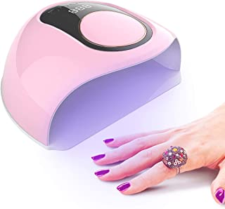 Delanie Lámpara LED Uñas Secador de Uñas Semipermanentes UV de Gel 168W con 4 Modos de Tiempo y Sensor Automático para Manicura y Pedicura en Salón o en Casa