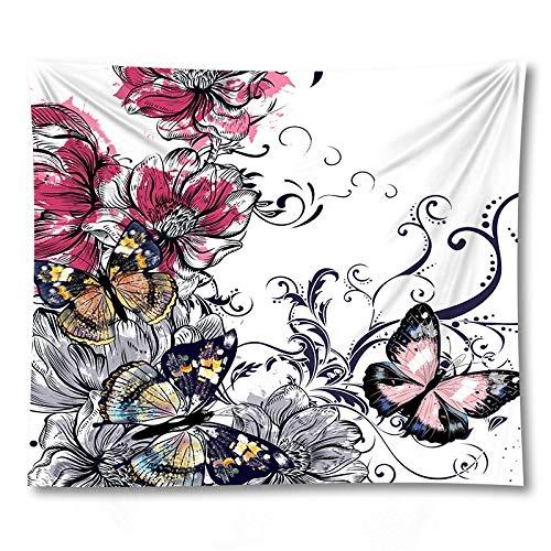 KHKJ Flor Mariposa Tapiz Hippie Yoga Estera Colgante de Pared Colcha Bohemia Dormitorio Decoración Tapices A11 200x180cm