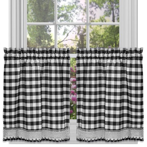 "Achim Home Furnishings Tier Pair Buffalo Check Window Curtain, 58"" x 24"", Black & White"