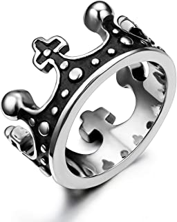 JewelryWe Gioielli Anello da Uomo Donna Retro Acciaio Inossidabile Fatto a Mano Corona Band, Colore Argento Nero