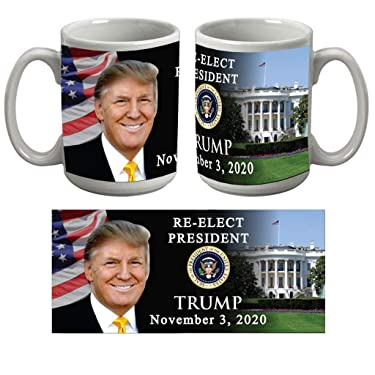 VictoryStore, Large Donald Trump Coffee Mug, 15 Ounces, Ceramic, Dishwasher Safe, Re-Elect President Donald Trump 2020