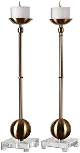 Intelligent Design Mid Century Modern Tall Brass Ball Candle Holder Set | Slim Contemporary Metal