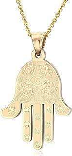 Stainless Steel Egyptian Eye of Good Luck Fatima Hamsa Hand Pendant Necklace, 19