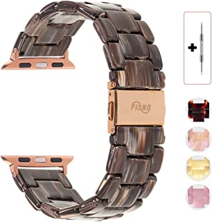 Resin Watch Band,FIANO Fashion Replacement Wristband Strap Compatible with Apple iWatch Series 4/3/2/1 with Stainless Steel Buckle Strap Women Men(Coffee Wood Grain, 38mm)